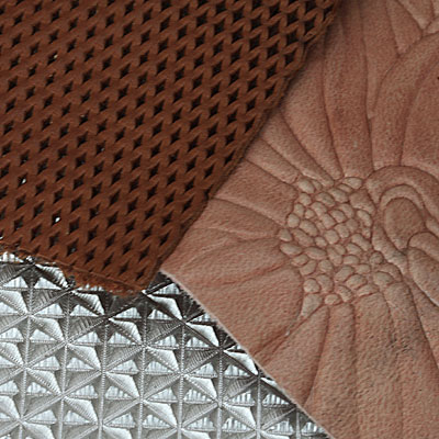 Detail of alloy plate with leather print